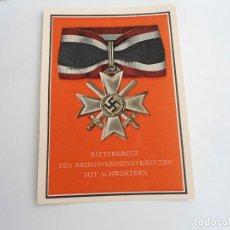 Cartes Postales: CRUZ DE CABALLERO DE GUERRA - CRUZ AL MERITO CON ESPADAS - POSTAL PROPAGANDA NAZI - EXCELENTE ESTADO. Lote 228198465