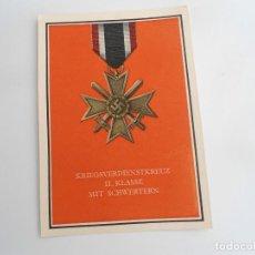 Postales: CRUZ AL MERITO CON ESPADAS 2ª CLASE - POSTAL PROPAGANDA NAZI - EXCELENTE ESTADO. Lote 228200035