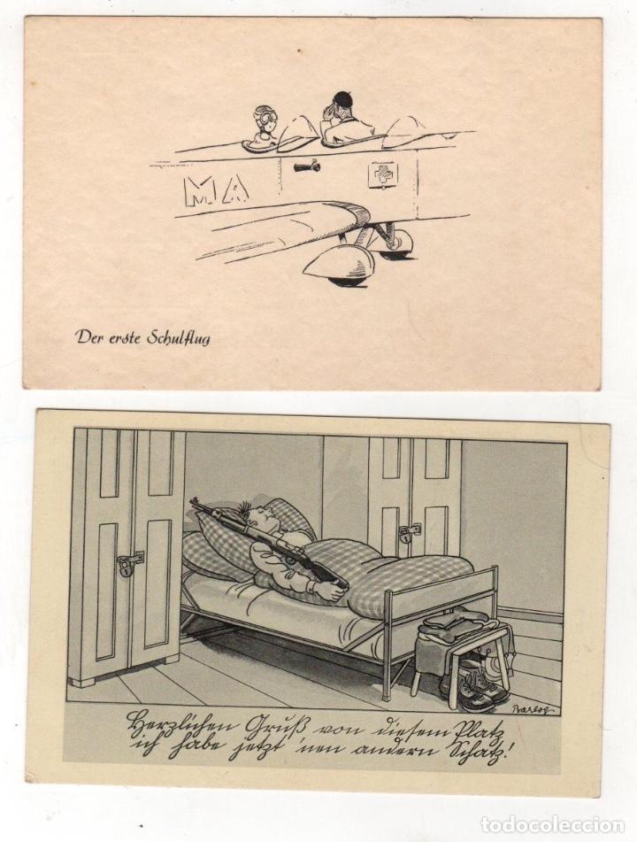 LOTE DE 2 TARJETAS POSTALES COMICAS II GUERRA MUNDIAL (Postales - Postales Temáticas - II Guerra Mundial y División Azul)