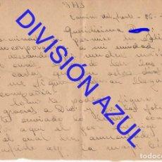 Postales: 1942 DIVISION AZUL ALCALÁ DE GUADAIRA TENIENTE REGTO 269 CARTA 1 HOJA C56. Lote 241044980