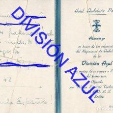 Postales: 1942 TENIENTE DIVISION AZUL ALCALÁ DE GUADAIRA ALMUERZO VOLUNTARIOS C56. Lote 241045610