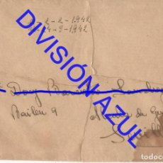 Postales: 1942 DIVISION AZUL ALCALÁ DE GUADAIRA TENIENTE REGTO 269 SOBRE CARTA C56. Lote 241047270
