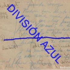 Postales: 1942 DIVISION AZUL ALCALÁ DE GUADAIRA TENIENTE REGTO 269 SOBRE CARTA C56. Lote 241048370