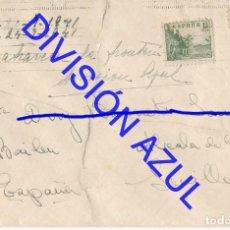 Postales: 1942 DIVISION AZUL ALCALÁ DE GUADAIRA TENIENTE REGTO 269 SOBRE CARTA C56. Lote 241048790
