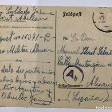 Postales: TARJETA POSTAL (FELDPOST) ENVIADA POR UN SOLDADO DE LA DIVISION AZUL (1942) A ALICANTE. Lote 246132170