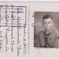 Postales: POSTAL ALEMANA ENVIADA A FRANCO EN 1939 FOTOGRAFÍA FRENTE JUVENTUDES ALEMANAS.. Lote 266081348