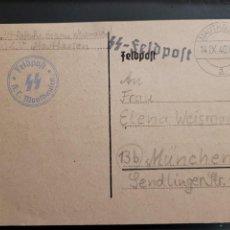 Postales: TARJETA POSTAL MANDADO POR LAS SS DESDE EL CAMPO DE MATHAUSEN. MARCA DE FELDPOST KL MATHAUSEN. Lote 296010223