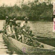 Postales: POSTAL GUINEA CONTINENTAL FAMILIA INDIGENA NAVEGANDO POR EL RIO KONGUE . Lote 9451984