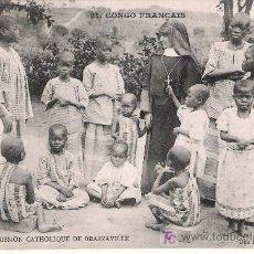 Postales: CONGO FRANCÉS. MISIÓN CATÓLICA DE BRAZZAVILLE. UNA RELIGIOSA Y SUS ALUMNOS. NO CIRCULADA. Lote 17314174