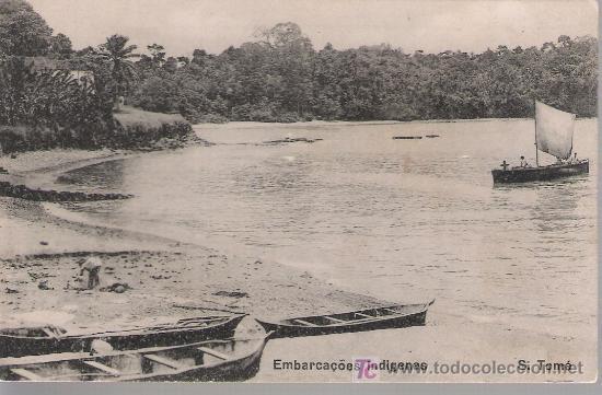 S.TOMÉ. EMBARCAÇOES INDÍGENAS. EDIT. GOVERNO DE S.TOMÉ E PRINCIPE.1928 (Postales - Postales Extranjero - África)