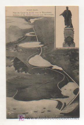EGIPTO. PORT SAID. CANAL DE SUEZ Y MONUMENTO DE LESSEPS. (Postales - Postales Extranjero - África)