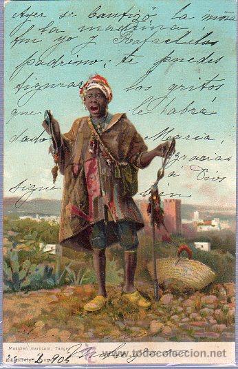 TARJETA POSTAL DE TANGER. MUSICIEN MAROCAIN. (Postales - Postales Extranjero - África)