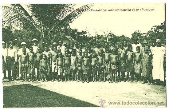 TARJETA POSTAL DE GUINEA ESPAÑOLA CONTINENTAL - PERSONAL DE UNA EXPLOTACION DE LA SOCOGUI (Postales - Postales Extranjero - África)