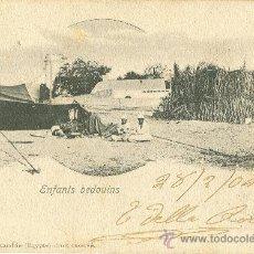 Postales: ALEJANDRIA. NIÑOS BEDUINOS. ENVIADA A VALLADOLID EN 1904.. Lote 24206567
