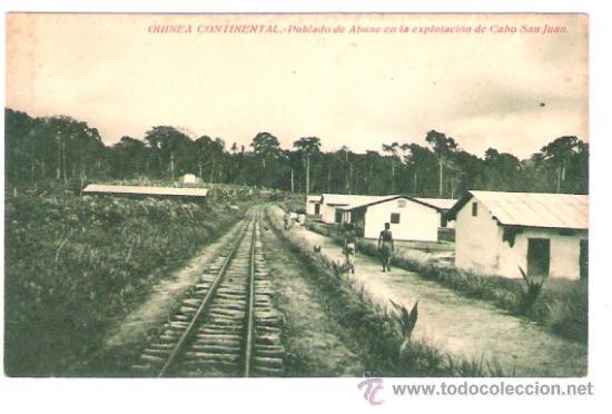 TARJETA POSTAL. GUINEA CONTINENTAL. POBLADO DE ABUNE EN LA EXPLOTACION DE CABO S. JUAN. ARIJA-CASERO (Postales - Postales Extranjero - África)