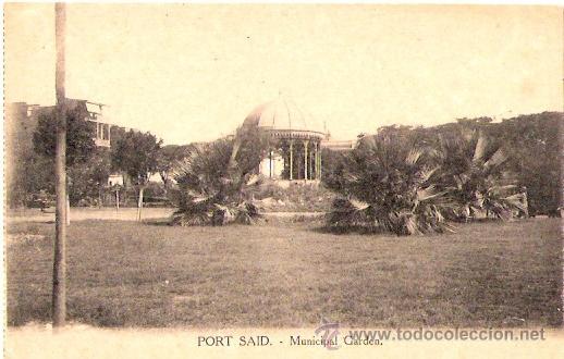 TARJETA POSTAL . EGIPTO. PORT SAID. MUNICIPAL GARDEN. VITTA & CIE. (Postales - Postales Extranjero - África)