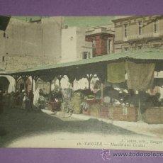 Postales: TANGER(MARRUECOS). LOTE DE DOS TARJETAS POSTALES: MARCHÉ AUX GRAINS // UNE PORTE.. Lote 29182038