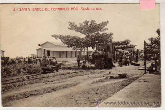 SANTA ISABEL DE FERNANDO POO. SALIDA DEL TREN. FERROCARRIL. 3. FOTOTIPIA THOMAS. SIN CIRCULAR. (Postales - Postales Extranjero - África)