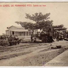Postales: SANTA ISABEL DE FERNANDO POO. SALIDA DEL TREN. FERROCARRIL. 3. FOTOTIPIA THOMAS. SIN CIRCULAR.. Lote 29449223