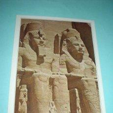 Postales: POSTAL EGIPTO. ABU-SIMBEL. ESTATUAS GIGANTES DE LA ENTRADA AL GRAN TEMPLO. Lote 31397554