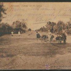 Postales: MARRUECOS. ALCAZAR. CAMINO DEL RIO LUKUS. LIBRERIA A. AREVALO. ESCRITA. Lote 36557920