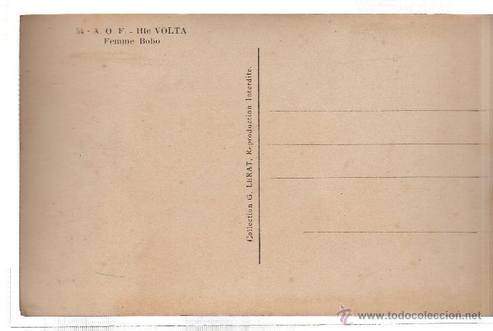 Postales: TARJETA POSTAL ETNICA COSTUMBRISTA DE LERAT. A.O.F. HTE VOLTA. FEMME BOBO. Nº 54. - Foto 2 - 45791754