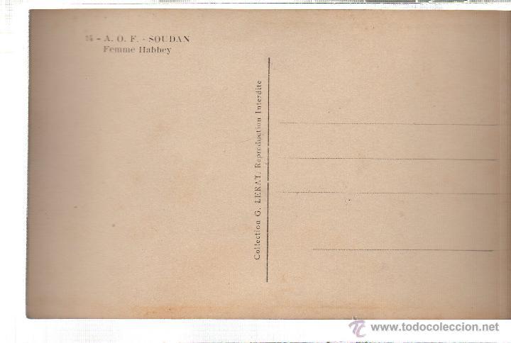Postales: TARJETA POSTAL ETNICA COSTUMBRISTA DE LERAT. A.O.F. SOUDAN. FEMME HABBEY. Nº 14. - Foto 2 - 45792055