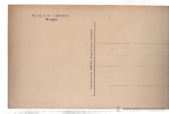 Postales: TARJETA POSTAL ETNICA COSTUMBRISTA DE LERAT. A.O.F. SOUDAN. MOSQUEE. Nº 83. - Foto 2 - 45792395