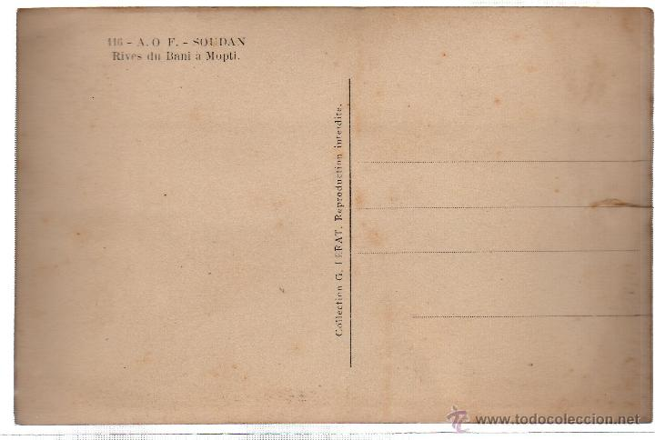 Postales: TARJETA POSTAL ETNICA COSTUMBRISTA DE LERAT. A.O.F. SOUDAN. RIVES DU BANI A MOPTI. Nº 116. - Foto 2 - 45792657