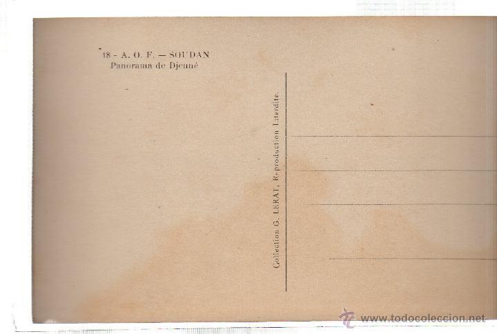 Postales: TARJETA POSTAL ETNICA COSTUMBRISTA DE LERAT. A.O.F. SOUDAN. PANORAMA DE DJENNE. Nº 18. - Foto 2 - 45792960