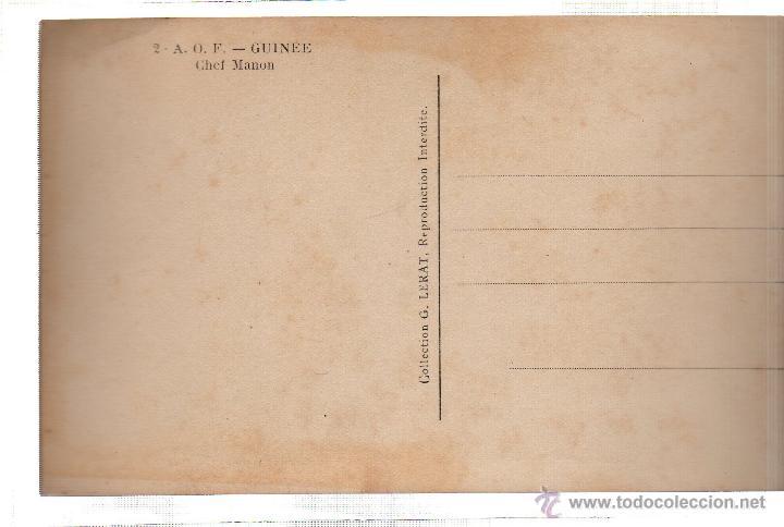 Postales: TARJETA POSTAL ETNICA COSTUMBRISTA DE LERAT. A.O.F. GUINEE. CHEF MANON. Nº 2. - Foto 2 - 45793004