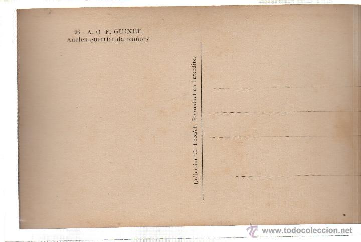 Postales: TARJETA POSTAL ETNICA COSTUMBRISTA DE LERAT. A.O.F. GUINEE. ANEIEN GUERRIER DE SAMORY. Nº 96. - Foto 2 - 45793310