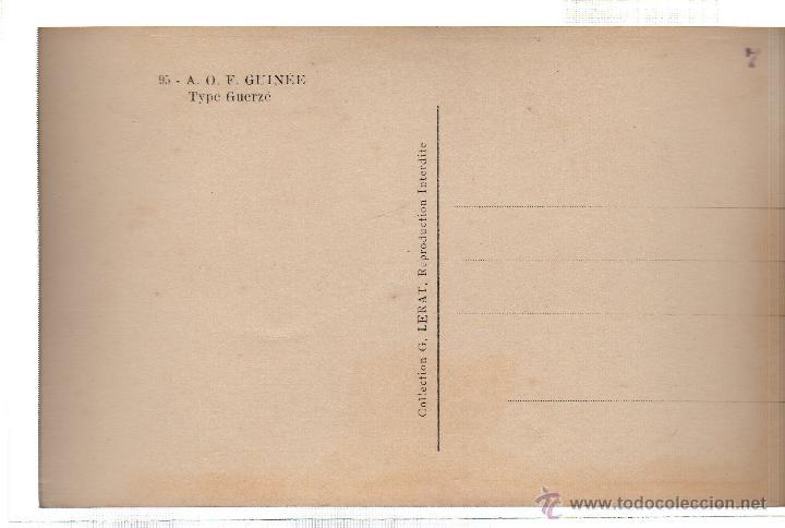 Postales: TARJETA POSTAL ETNICA COSTUMBRISTA DE LERAT. A.O.F. GUINEE. TYPE GUERZE. Nº 95. - Foto 2 - 45793338