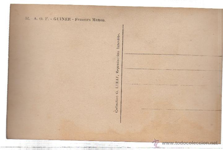 Postales: TARJETA POSTAL ETNICA COSTUMBRISTA DE LERAT. A.O.F. GUINEE. FEMMES MANON. Nº 52. - Foto 2 - 45793353