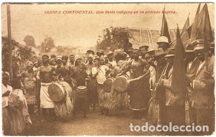 GUINEA CONTINENTAL.- UNA FIESTA INDÍGENA EN UN POBLADO BUGEBA (Postales - Postales Extranjero - África)