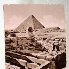 Postales: (XAF-4) ANTIGUA POSTAL FOTOGRÁFICA EGIPTO SPHINX TEMPLE AND CHEOPS PYRAMID. SIN CIRCULAR. PIRÁMIDE.. Lote 87439296