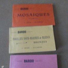 Postales: TUNEZ. BARDO. 3 BLOC DE POSTALES. MOSAIQUES 1ª Y 2ª SERIE + 1ª FOUILLES SOUS - MARINES DE MAHDIA.. Lote 94111455