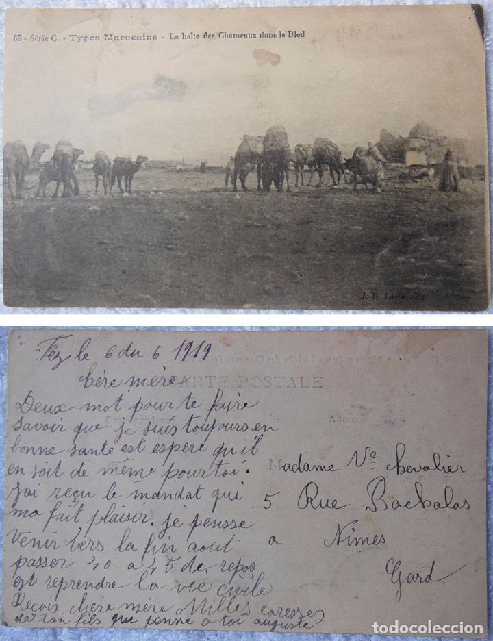 TYPES MAROCAINS. LA HALTE DES CHAMEAUX DANS LE BLED. 1919 (Postales - Postales Extranjero - África)