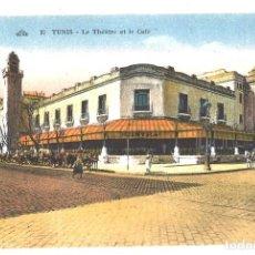 Postales: TUNEZ. TEATRO Y CAFÉ. COLOREADA. Lote 110265163