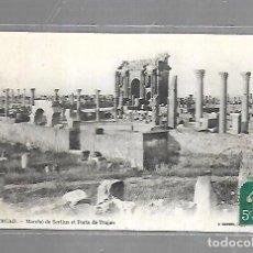 Postales: TARJETA POSTAL DE TIMGAD, ARGELIA - MARCHE DE SERTIUS ET PORTE DE TRAJAN. 23. J.GEISER. Lote 121312935