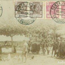 Postales: GUINEA ESPAÑOLA. GRUPO DE NATIVOS POSTAL FOTOGRÁFICA COSTUMBRISTA. SELLOS INTERESANTES. 1923.. Lote 121379871