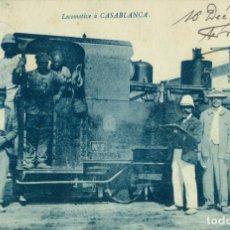 Postales: MARRUECOS CASABLANCA LOCOMOTORA MILITAR. ESCRITA EN 1912.. Lote 121381283