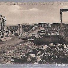 Postales: TARJETA POSTAL. ARGELIA. RUINES ROMAINES DE TIMGAD - ARC DE TRAJAN ET TEMPLE DU GENIE. 47. Lote 122336095