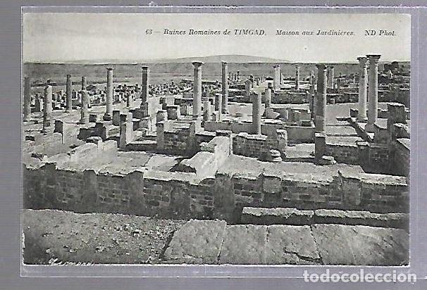 TARJETA POSTAL. ARGELIA. RUINES ROMAINES DE TIMGAD - MAISON AUX JARDINIERES. 63. ND PHOTO (Postales - Postales Extranjero - África)