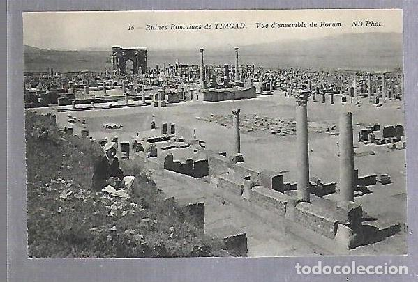 TARJETA POSTAL. ARGELIA. RUINES ROMAINES DE TIMGAD - VUE D'ENSEMBLE DU FORUM. 16. ND PHOTO (Postales - Postales Extranjero - África)