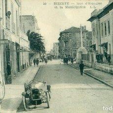 Postais: TUNEZ BIZERTA BIZERTE. CALLE DE ESPAÑA. SURTIDOR DE GASOLINA HACIA 1920.. Lote 127295259