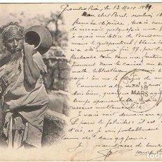 Postales: POSTAL TUNEZ PASTOR BEREBER. ESCRITA Y CIRCULADA 1899. Lote 130949904