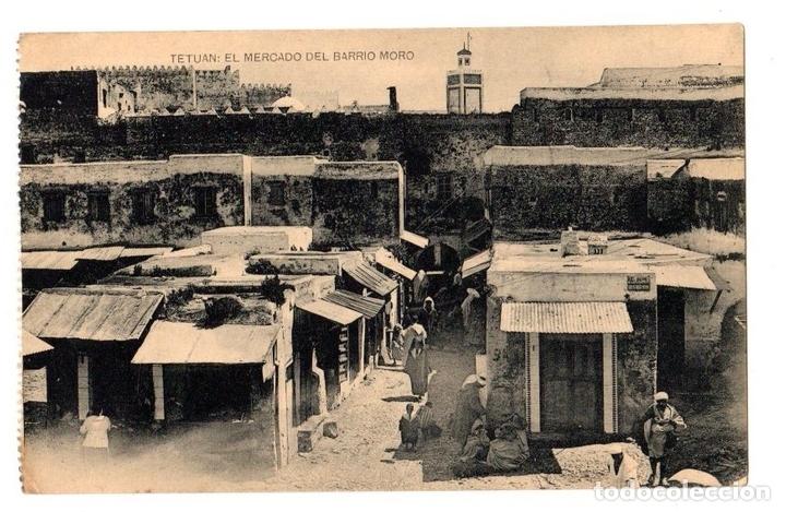 TARJETA POSTAL TETUAN. EL MERCADO DEL BARRIO MORO. HAUSER Y MENET (Postales - Postales Extranjero - África)