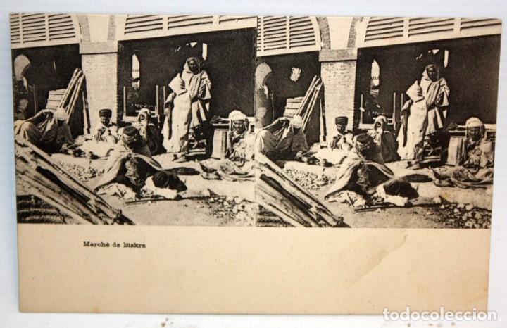 ANTIGUA POSTAL ESTEREOSCOPICA DE BISKRA (ALGERIA). MARCHE DE BISKRA. SIN CIRCULAR (Postales - Postales Extranjero - África)