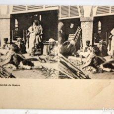 Postales: ANTIGUA POSTAL ESTEREOSCOPICA DE BISKRA (ALGERIA). MARCHE DE BISKRA. SIN CIRCULAR. Lote 173072384